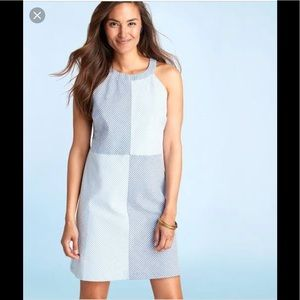 Vineyard Vines~Blue Seersucker Stripe Block Dress